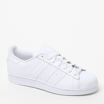 adidas White Stripe Superstar Low-Top Sneakers - Womens Shoes - White