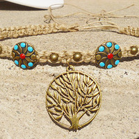 My Tree from the Southwest Tree of Life Hemp Necklace Choker  hippie NEW