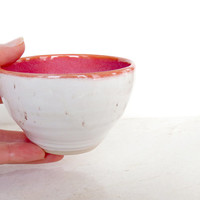 Pink and White Bowl. Small Ceramic Bowl. Speckled. Handmade Pottery. Serving Bowl.
