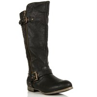 SALE-Black Quilted Studded Boots