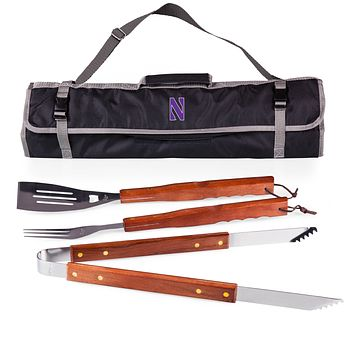 Northwestern Wildcats 3-Pc BBQ Tote & Tools Set-Black Digital Print