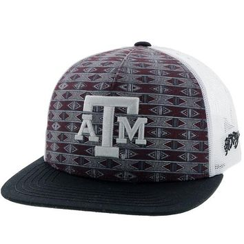 HOOey Maroon Aztec Print & White Texas A&M Patch Snapback Cap 7025TMAWH