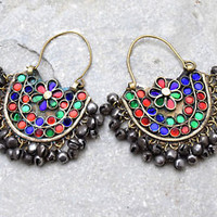 Kuchi Afghan Earrings Tribal Crescent Ethnic Dance Jewelry Bohemian Gypsy Boho