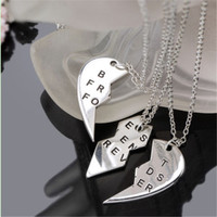 "Women Creative Elegant 3 Part ""BEST FRIENDS FOREVER"" Broken Heart Pendant Chain Necklace XY555"