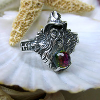 Sterling Silver Merlin Wizard Ring Swarovski Borealis Crystal Ball
