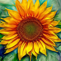 Sunflower painting artwork geclee on canvas, floral modern art, big flower flowers contemporary art