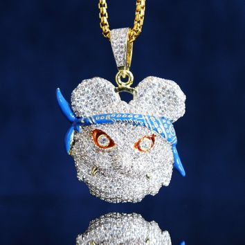 Custom Iced Out Panda Face with Bandana Pendant Chain