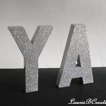 "SILVER GLITTER LETTERS- Personalized Tabletop or Wall Letters, Initials or Words - 8"" in A-Z"