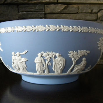 Wedgwood Bowl, Blue Jasperware Footed Bowl with White Relief Greek or Roman Scene With Oak Leaf Trim- 8 Inch-1967