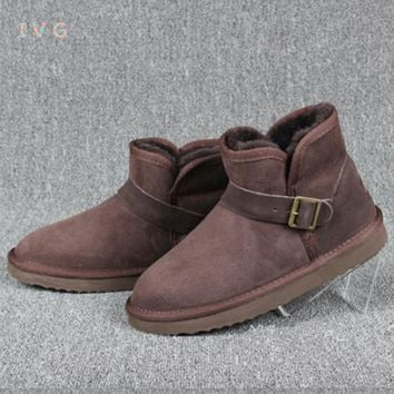 new 2017 Women's winter boots Australia Classic Mini Sheepskin Snow Boots Warm  Metal buckle ugs Boots Brand IVG large size 4-12