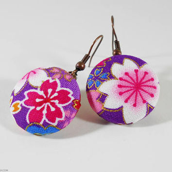 Japanese Earrings Kimono Fabric Earrings - Japanese Cotton Handmade Jewelry Button Earrings Shimmering Sakura Cherry Blossoms Flowers