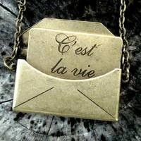 Brass C'est la Vie Necklace - $25.00 : RagTraderVintage.com, Handmade Indie Retro Accessories