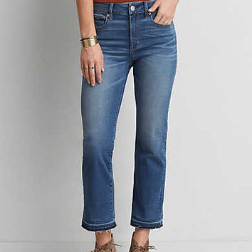 AEO Denim X Cafe Hi-Rise Kick Crop, Medium Standard