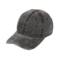 Pigment Dyed Buckle Strapback Low Profile Dad Hat (Black)