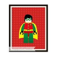 Lego Robin Print // Superhero Pop Art // Instant Download // PRINTABLE 8x10 // Kids Print // Nursery Print // Playroom Print // Comic Book