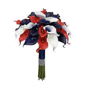 Real Touch Life-Like Calla Lily Bouquet- 3 Dozen Calla Lilies Navy Blue (Marine), Red, and White