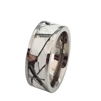 Unisex Titanium Snow Camo White Wedding Ring Band Outdoor Camouflage