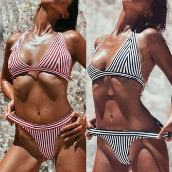 """All in"" Stripe 2 piece bikini swimwear"