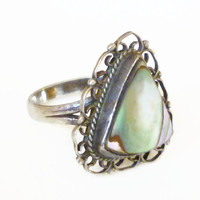 Mexican Sterling Ring Abalone Shell Triangle Filigree Vintage Jewelry