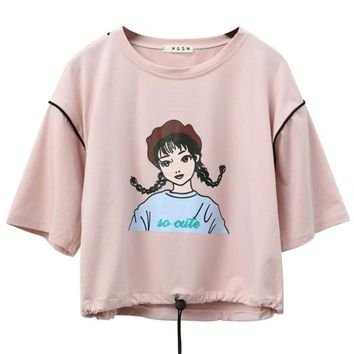 So Cute Print Harajuku Style Crop Top Loose Shirt