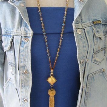 Beaded Tassel Necklace, Shimmering Gold crystal necklace, beaded tassel, Long Necklace, Upcycled Jewelry, Boho Chic jewelry, pendant