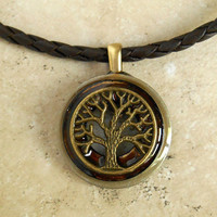 Tree of Life Necklace: Brown - Fathers Day - Celtic Jewelry - Mens Necklace - Mens Jewelry - Tree Jewelry - Leather Cord - Boyfriend Gift
