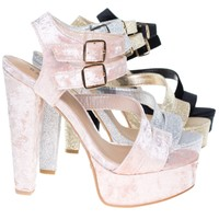Clarice42S By Bamboo, Chunky Block Heel Sandal, Retro Open Toe Double Strap Shoes