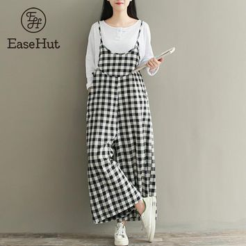 EaseHut Plus Size Rompers Women Check Plaid Dungaree Jumpsuits Overalls Vintage Strappy Casual Loose Harem Pants Long Trousers