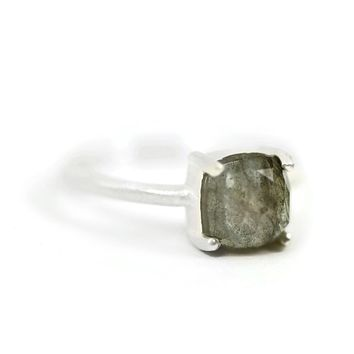 Sterling Silver 7mm Cushion Cut Faceted Labradorite Ring