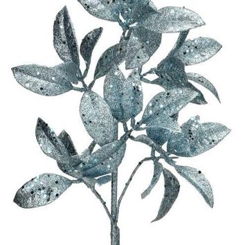 "Ice Blue Artificial Glittered Sequin Pittosporum Leaves - 23"" Tall"