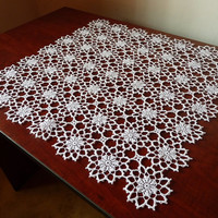 SALE -15% OFF White flower motif small square crochet lace tablecloth - new handmade dinning room decor