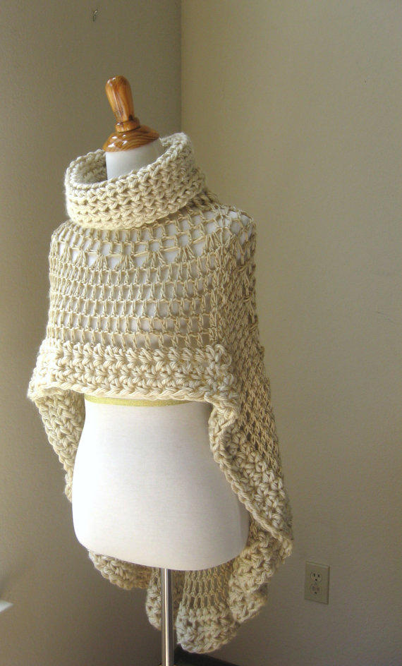 Beige Bohemian Poncho Crochet Knit Cream From Marianavail