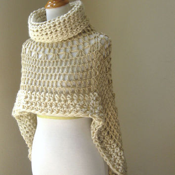 Knitting Pattern Turtleneck Capelet : BEIGE BOHEMIAN PONCHO Crochet Knit Cream from marianavail on Etsy