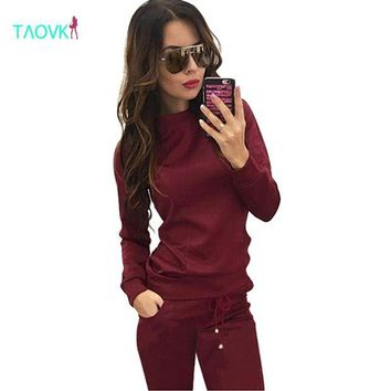 DCCKFV3 TAOVK design 2016 new fashion Russia style Women Wine red & Apricot-colored , 2-piece Sweatshirt+Long Pant Leisure clothes