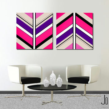 "Made to order. Original abstract painting. 2 piece canvas art. 24x50"" Large painting with pink, purple. Girly painting. Modern wall art."