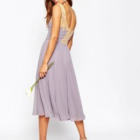 ASOS WEDDING Lace Applique Midi Dress