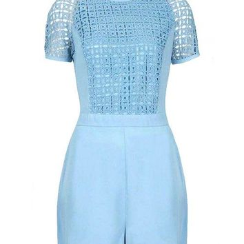 Stylish Round Collar Short Sleeve Spliced Hollow Out Women's Romper
