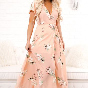 Here Comes The Sun Floral Wrap Dress (Peach)