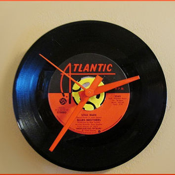 45 Record Wall Clock Re-purposed Man Cave Decor