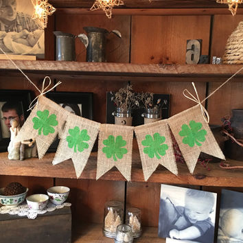 St. Patricks Day Bunting, St. Paddys Bunting, Four Leaf Clover Bunting, Burlap St. Patricks Bunting, St. Patricks Garland, Lucky Bunting
