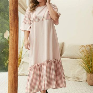 Plus Contrast Gingham Frill Dress
