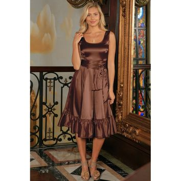 Chocolate Brown Fit Flare Ruffle Evening Midi Dress With Belt - Women