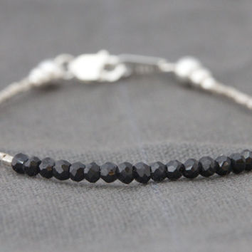 Black spinel bracelet delicate beaded bracelet