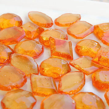 Orange Edible Jewels Wedding Favors- Hard Candy Gems - 30 Candy Pack - Cake Decorations, Orange Wedding Favors, Party Favors, Pirate Party