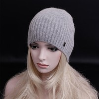 2016 newest fashion elegant cashmere hat letters beanies gorros woman winter hat knitted hat Solid color wool cap casual hat