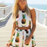 Pineapple Printed Crop Top Tasseled Shorts Set