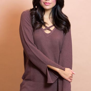 Eviana Cross Front Knit Top - Wine