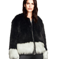 Black and White Fluffy Faux Fur Coat