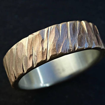 bronze wedding band men, unique mens ring bronze silver, rugged bronze ring, cool mens ring hammered, bronze anniversary gift for him