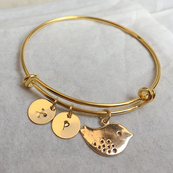 Bird bracelet, Gold bird pendant bracelet, initial bracelet, adjustable bracelet, white gold, Bridesmaid gift idea, Bridal gift for her